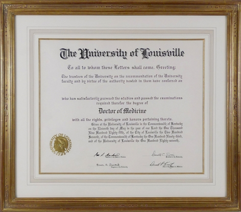 re framing diploma, custom gilded picture frame with french mat