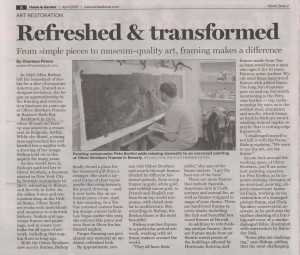 """Refreshed & transformed"" article about Oliver Brothers Custom Framing Page 1"